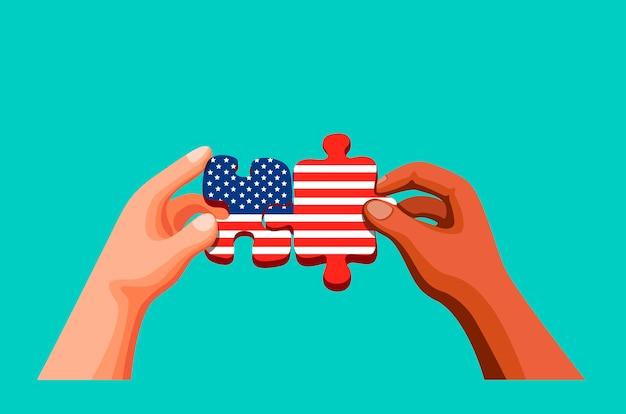 アメリカ独立記念日と多様性文化のためのアメリカの旗のシンボルとパズルを保持し、参加する2人の手。漫画イラストのコンセプト