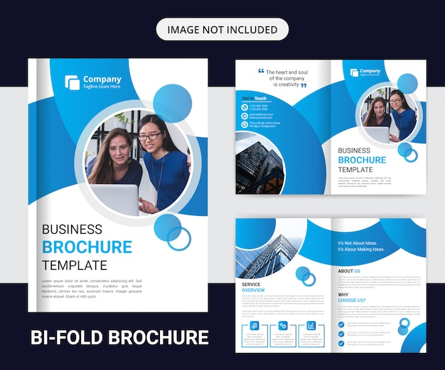 企業2つ折りパンフレットのデザインテンプレート