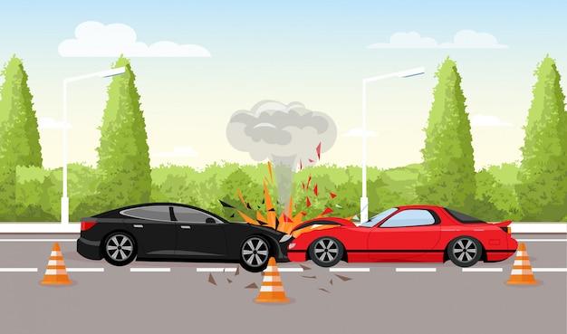 道路上の自動車事故のベクトルイラスト。 2台の車がクラッシュし、フラットスタイルの車の事故の概念。