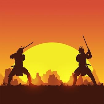 2つの日本の武士の剣の戦い、イラストのシルエット