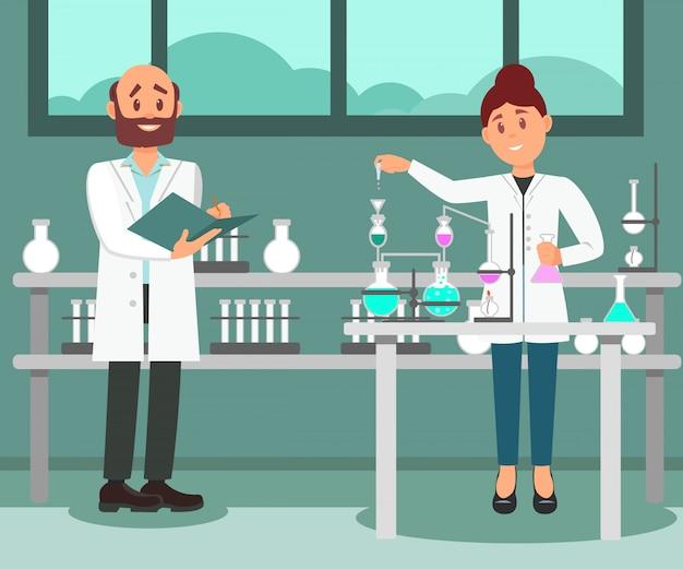 研究室で働いている2人の科学者。化学実験をしている女性、フォルダーにメモを作っている男性。フラットなデザイン