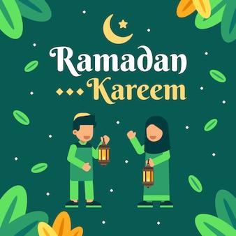ラマダンカリームの背景に2つのイスラム教の子供たち