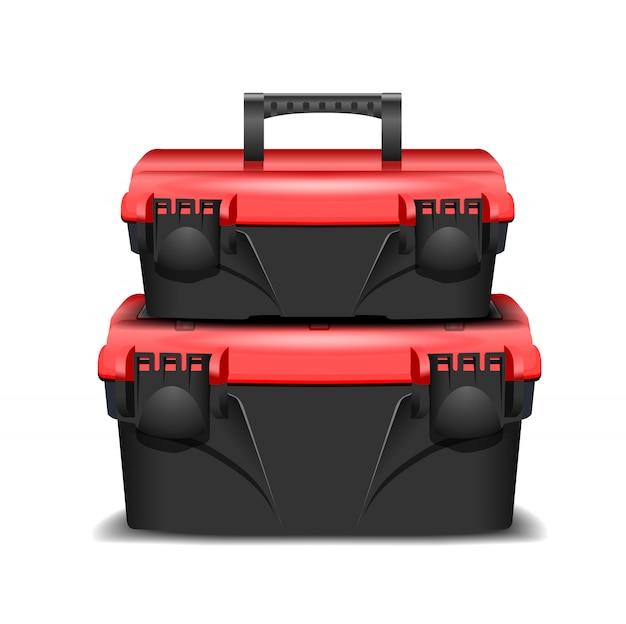 2つのプラスチック製の黒い工具箱、赤い帽子。ビルダーまたは工業用ストアのツールキット。ツールのための現実的なボックス