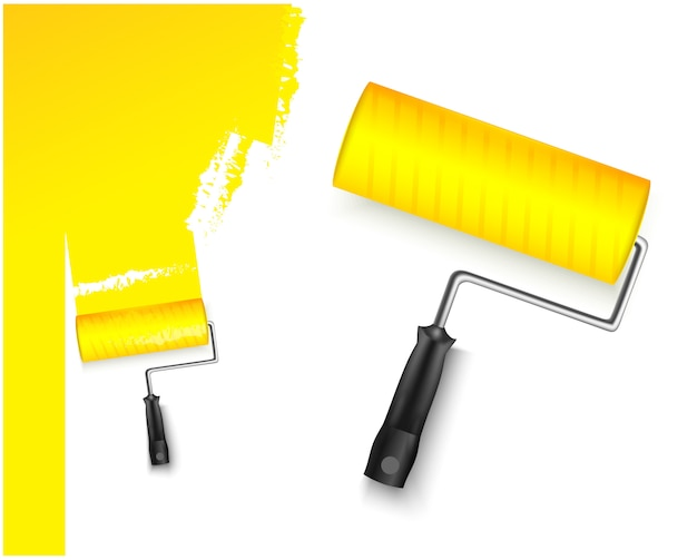 ペイントローラーの大小2つの図と白い背景に分離された塗装黄色の色を塗装