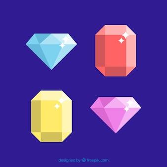 2色のバレンタインの宝石とダイヤモンド