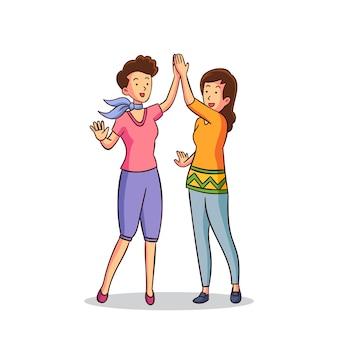 ハイファイブを与える2人の女性のイラスト