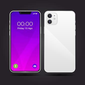 2台のカメラを搭載した現実的な白いスマートフォンのデザイン