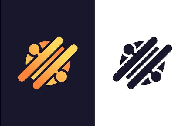 2つのバージョンのシンプルな抽象的なロゴ