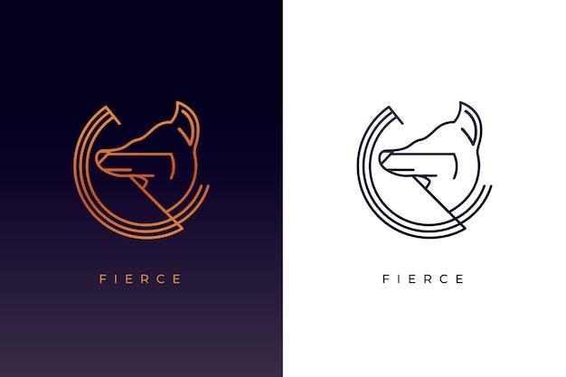 2つのバージョンの抽象的な動物ロゴ