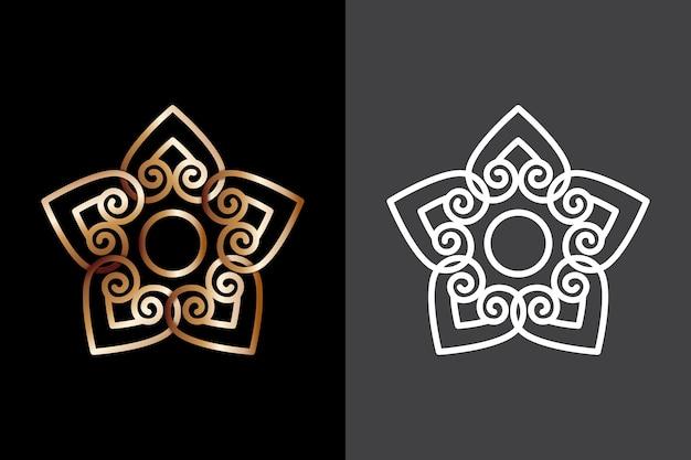 2つのバージョンの抽象的なデザインロゴ