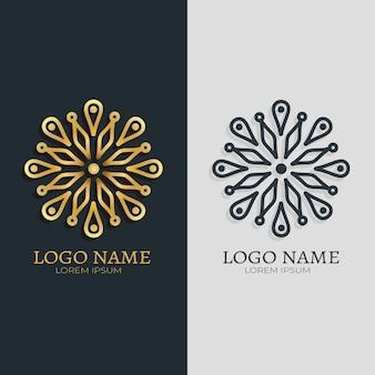 2つのバージョンのロゴの抽象的なスタイル