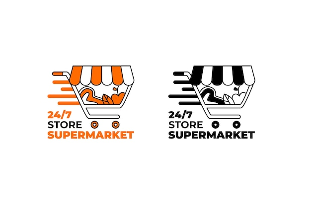 2つのバージョンのスーパーマーケットのロゴ