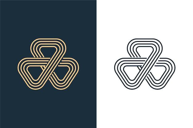 青と白の2つのバージョンの抽象的なロゴ