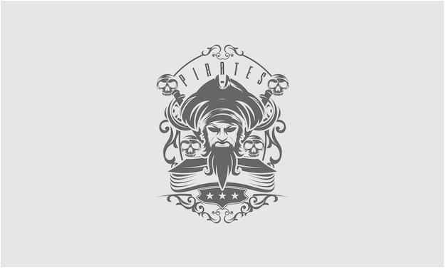 海賊キャプテンの頭と2つの剣のマスコット