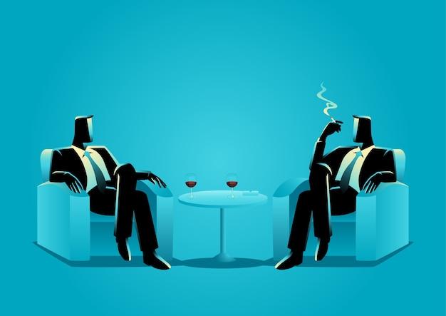 ソファーに座っている2人のビジネスマンのビジネスイラスト