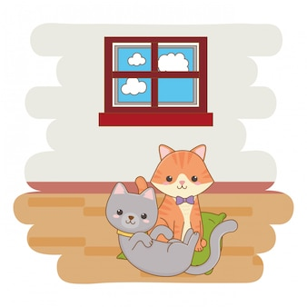 2匹の猫が漫画イラスト