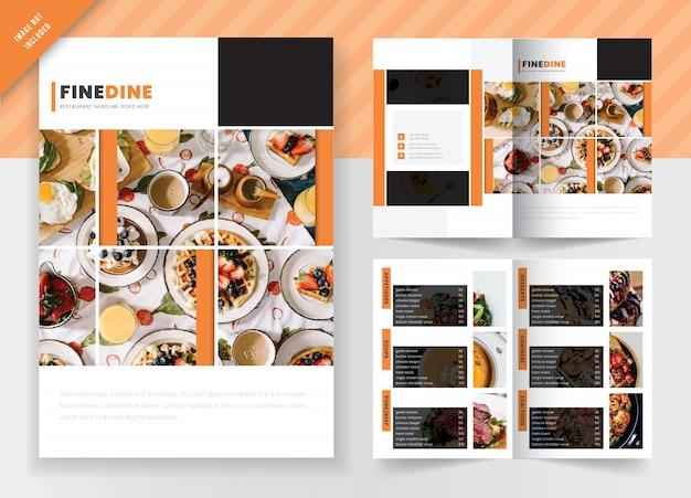 食品&レストランマーケティングコンセプト2つ折りパンフレットテンプレートデザイン