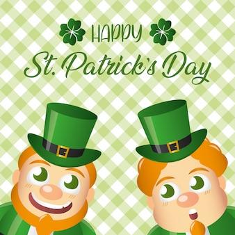 笑顔の2つのアイルランドのレプラコーン、聖パトリックの日グリーティングカード