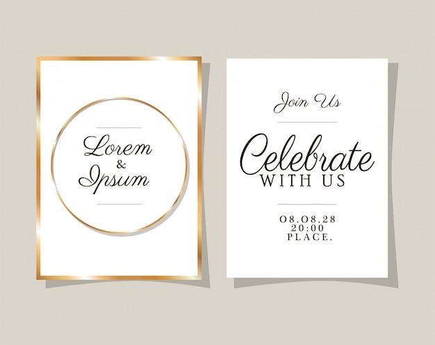 ゴールドフレームデザインの2つの結婚式の招待状