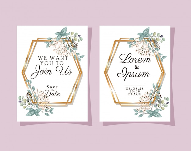 ゴールドフレームの2つの結婚式の招待状の花と葉のデザイン