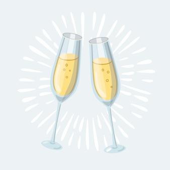 白の2つのグラスシャンパン。漫画のスタイル。かわいい面白いクリスマスのアイコン。図。