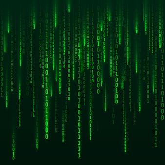 サイエンスフィクションの背景。バイナリコンピュータコード。緑のデジタル番号。 2進数の行列。未来的なハッカーの抽象化の背景。暗い背景に落ちる乱数。