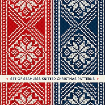 Набор из 2 зимних праздничных бесшовных вязаных узоров. рождественские и новогодние украшения
