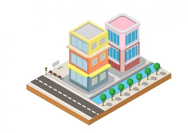 道路と庭の2つの建物