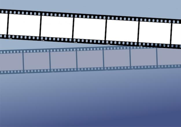 中立的な色の背景上の2つのフィルムストリップ。