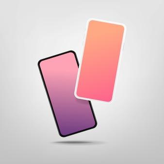 空白の画面を持つ2つの現代のスマートフォン。