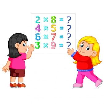 2人の女の子と数学ワークシートテンプレート