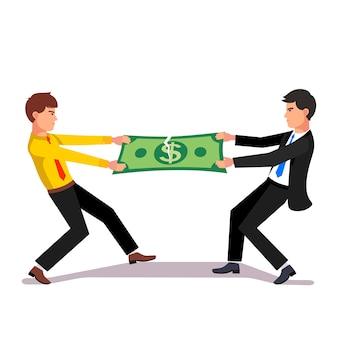 市場の収入を超えて戦っている2人のビジネスマン