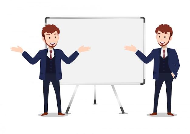ビジネスマンの漫画のキャラクター、2つのポーズの設定