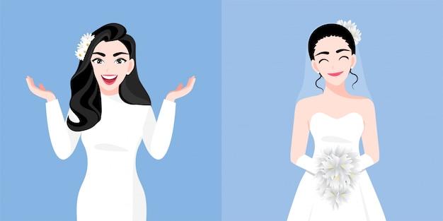 花嫁と美しい若い女性は結婚式の日に2つのスタイルをドレスアップします。