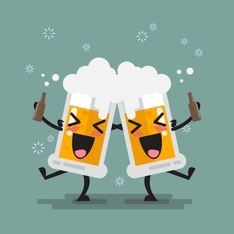 2つの飲酒ビールグラスキャラクター
