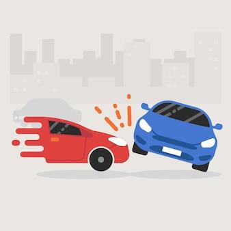 2台の車が衝突する自動車事故