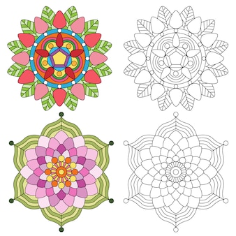 Мандала цветочная 2 стиля окраски для взрослых.