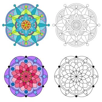 カラフルな花と花の曼荼羅丸飾り2スタイルを着色マンダラ。