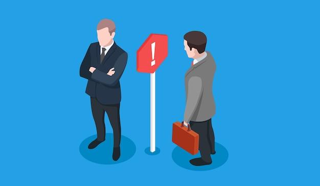 ビジネス紛争、2つのビジネスマンとそれらの間の看板