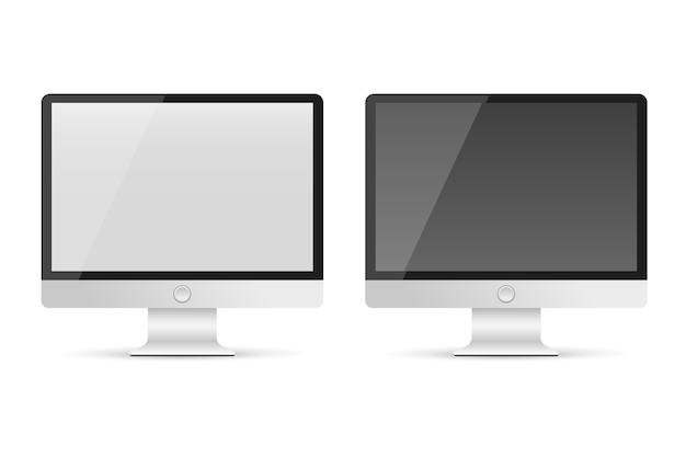 2つの現実的なコンピュータモニタ。バナーのための光沢のあるスクリーン。