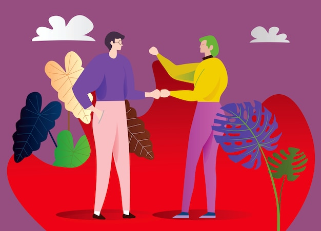 2人の若い億万長者が話しています。庭で友達や同僚との出会い