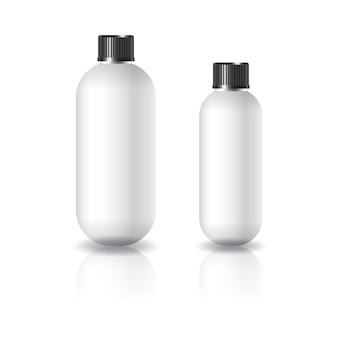 黒い溝のふた付きの2つのサイズの白い楕円形の丸い化粧品ボトル。