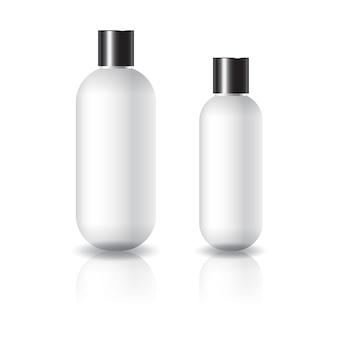 2つのサイズの白い楕円形の丸い化粧品ボトル、黒のプレーンネジ蓋付き。