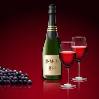 現実的な2つのワイングラス