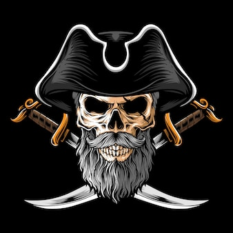 2本の剣を持つ頭蓋骨の海賊