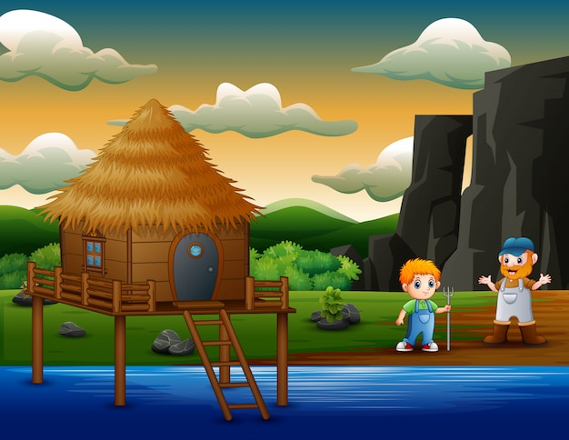 川のそばの2人の農夫男の子を漫画します。