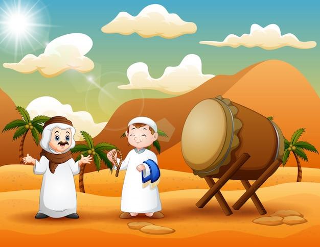 砂漠の風景の中の2人のアラブ人