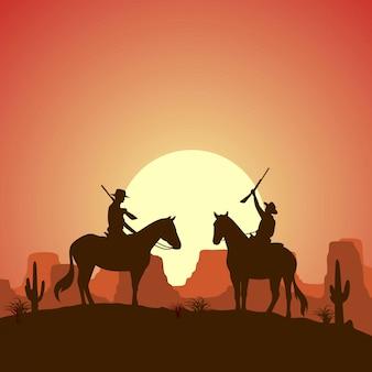 銃を持った馬に乗って2つのカウボーイをシルエットします。