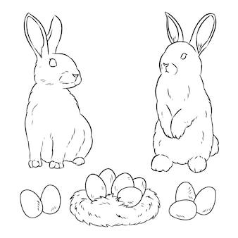 2匹のイースターのウサギとイースターエッグ
