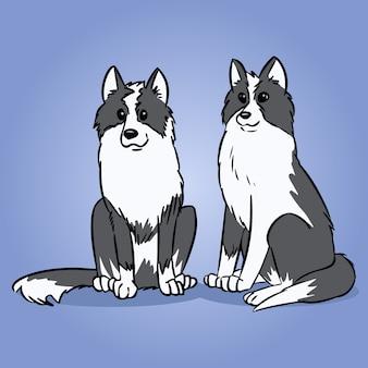 2匹のシベリアンハスキー犬またはライカ犬。かわいい犬のイラスト。